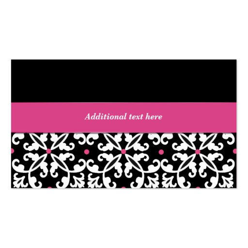 Black, White, and Pink Damask Bakery Business Card (back side)