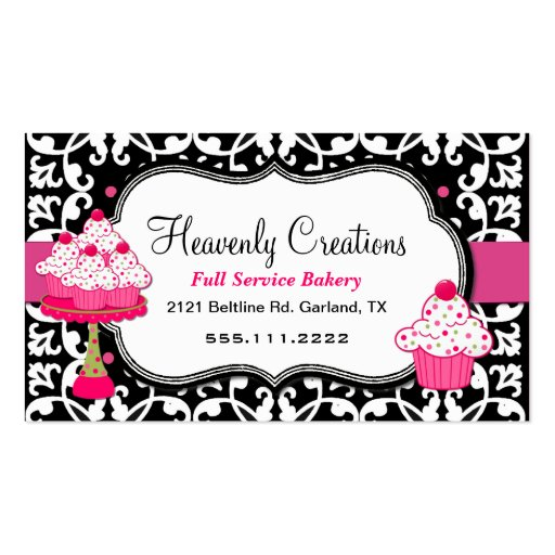 Black, White, and Pink Damask Bakery Business Card (front side)