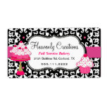 Black, White, and Pink Damask Bakery Label Shipping Label