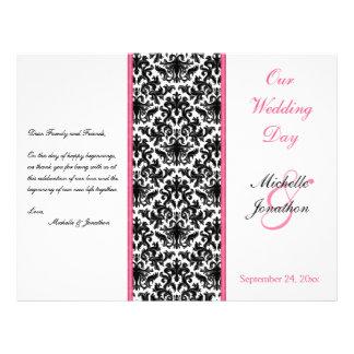 Black, White, and Pink Damask Wedding Program