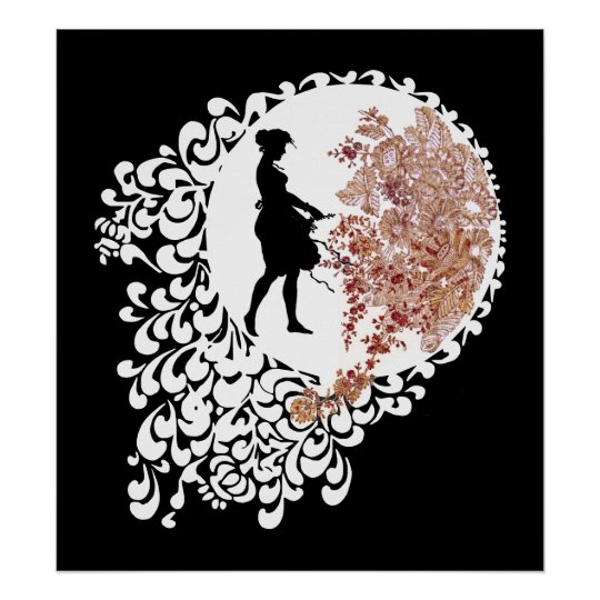 Black White And Pink Decorative Silhouette Girl Poster