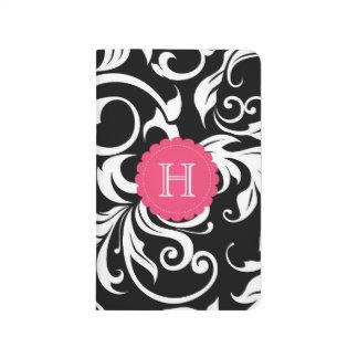 Black White and Pink Floral Swirl Monogram Journal
