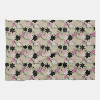 Black White and Pink Flower Pattern Kitchen Towel