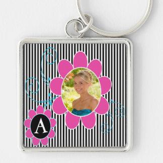 Black, White and Pink Photo Monogram Keychain