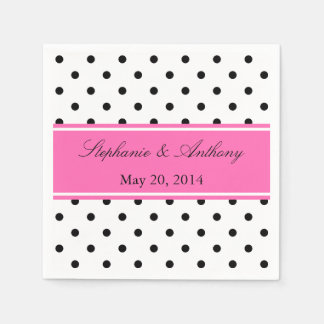 Black, White and Pink Polka Dot Wedding Disposable Napkin