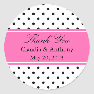 Black, White and Pink Polka Dot Wedding Thank You Classic Round Sticker