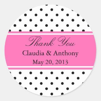 Black, White and Pink Polka Dot Wedding Thank You Classic Round Sticker