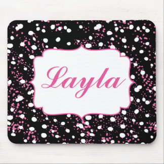 Black, white and pink pretty graffiti style mouse pad