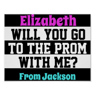 Black, White and Pink Promposal Poster