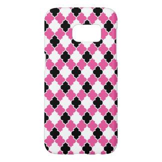 Black, White and Pink Quatrefoil Seamless Pattern Samsung Galaxy S7 Case