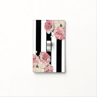 Black, White and Pink Roses Light Switch Cover
