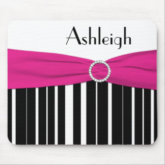 Black, White, and Pink Striped Mousepad with Name