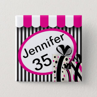 Black, White and Pink Stripes | DIY Text Button