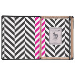 Black white and pink twill case for iPad
