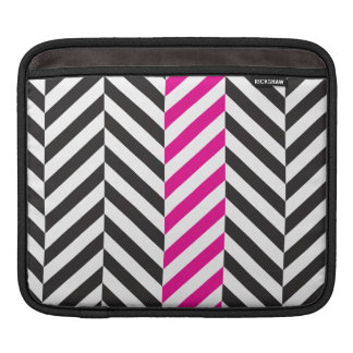 Black white and pink twill sleeve for iPads