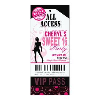 Black, White and Pink VIP Sweet 16 Ticket Party Card