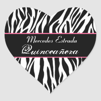 Black White and Pink Zebra Quinceanera Heart Heart Sticker