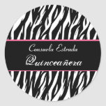 Black White and Pink Zebra Quinceanera Round Stickers