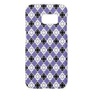 Black, White and Purple Quatrefoil Seamless Design Samsung Galaxy S7 Case