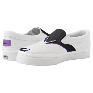 BLACK WHITE AND PURPLE SLIP ON SHOES PRINTED SHOES