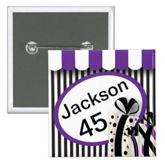 Black, White and Purple Stripes | DIY Text 2 Inch Square Button