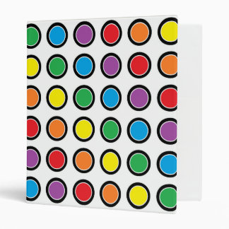 Black, White and Rainbow Polka Dots Binder