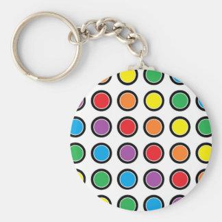 Black, White and Rainbow Polka Dots Keychain