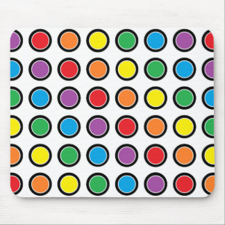 Black, White and Rainbow Polka Dots Mouse Pad