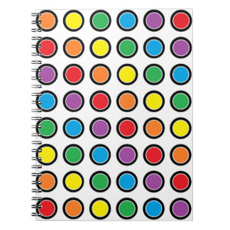 Black, White and Rainbow Polka Dots Notebook