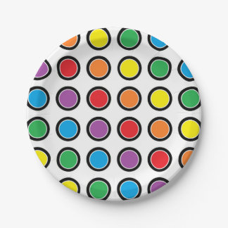 Black, White and Rainbow Polka Dots Paper Plates