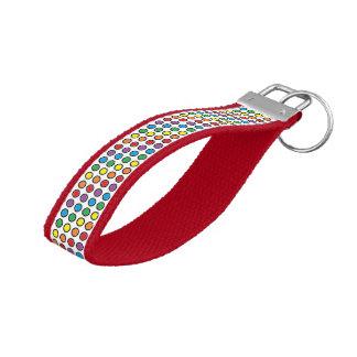 Black, White and Rainbow Polka Dots Wrist Keychain