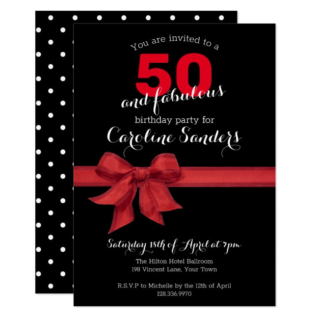 Black White and Red 50 and Fabulous Birthday Party Invitation