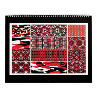 Black, white and red abstract art 12 page calendar