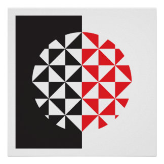 Black, White and Red Abstract Poster