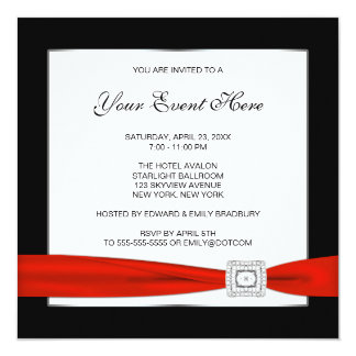 "Black White and Red All Occasion 5.25"" Square Invitation Card"