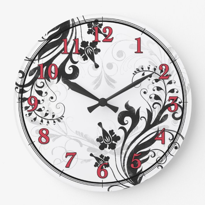 Black White And Red Asian Floral Wall Clock Zazzle