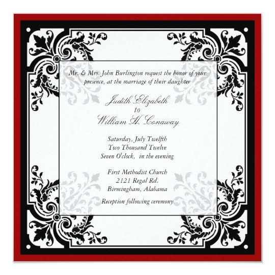 Black, White, and Red Baroque Wedding Invitation | Zazzle.com