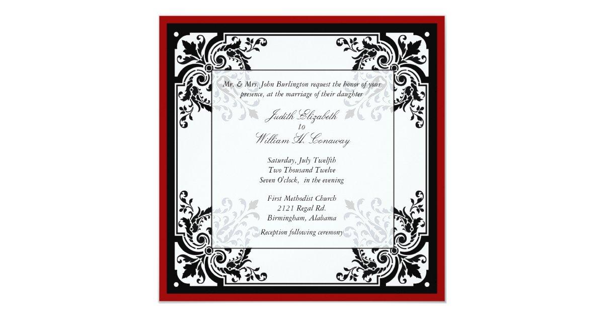 Baroque Wedding Invitations: Black, White, And Red Baroque Wedding Invitation