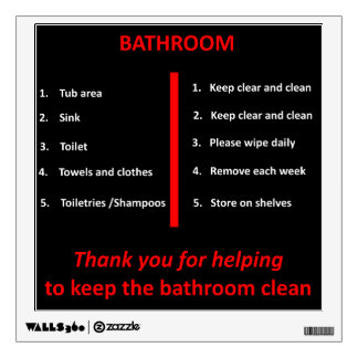 Black, White and Red Bathroom Thank You Signage Wall Decal
