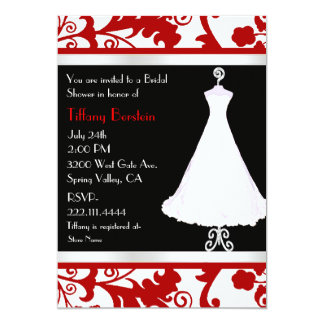 Black, White, and Red Bridal Shower 5x7 Paper Invitation Card
