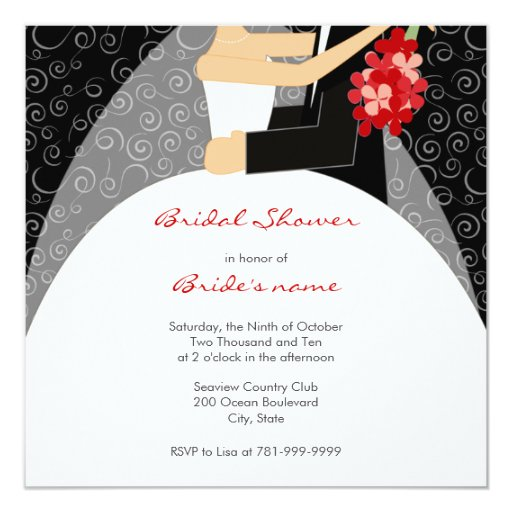 Black white and red bridal shower invitations zazzle for Black and white bridal shower invitations