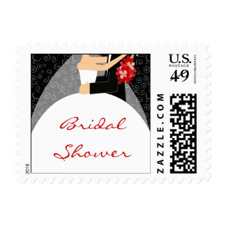 Black White and Red Bridal Shower Stamps