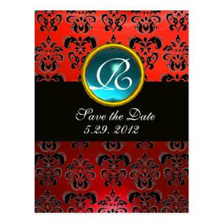 BLACK WHITE AND RED DAMASK BLUE GEM Monogram Postcard