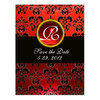 BLACK WHITE AND RED DAMASK RED RUBY Monogram Postcard