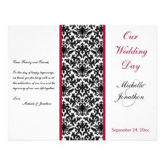 Black, White, and Red Damask Wedding Program