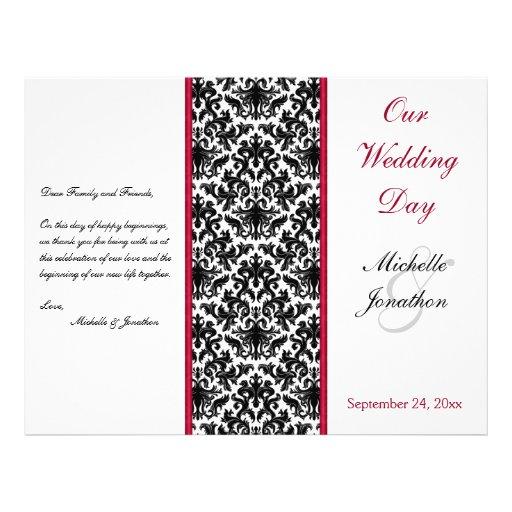 "Black, White, and Red Damask Wedding Program 8.5"" X 11"" Flyer"