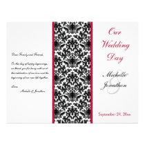 Black, White, and Red Damask Wedding Program Flyer