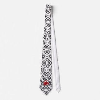 Black White and Red Heart Damask Tie