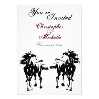 Black White and Red Horse Wedding Invitation