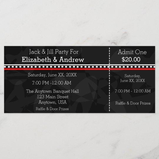 Black White And Red Jack Jill Shower Tickets Zazzlecom